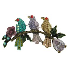 Large Butler and Wilson Birds on a Branch Rhinestone Brooch