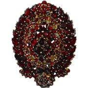 Victorian Bohemian Garnet Locket Back Pendant/Pin
