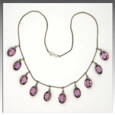 Early Deco Silver and Amethyst Drops Necklace