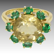 Sterling Silver Gilt Citrine and Tourmalines Ring