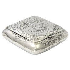 French Antique Silver Musical Motif Trinket or Pill box - Quitte Prudent