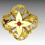 French Antique Gold Filled 'FIX'  Flower Pin