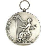 Antique Silvered Bronze Harp Music Medal - ALPHONSE RIVET