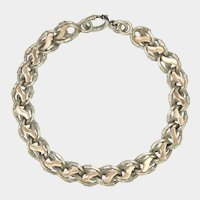 French Antique Double Sided Silver with Rose Gold Overlay Bracelet