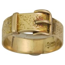 Victorian 12K Gold Buckle Ring - Signed