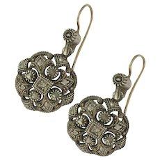 Art Deco Silver Diamond Earrings - 9K Hooks
