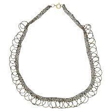 Victorian Cut Steel Reconstituted Looped Necklace - 17½""