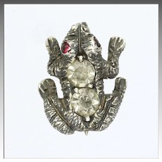 Victorian Silver Pastes and Rubies Frog Lace or Lapel Pin
