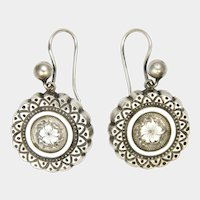 Victorian Sterling Silver Engraved Earrings - Hooks