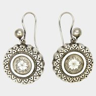 Victorian Sterling Silver Engraved Earrings - Hooks