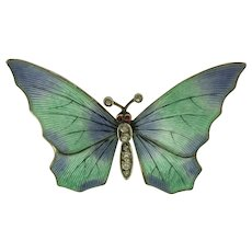 Art Nouveau German 900 Silver Enamel Butterfly Pin