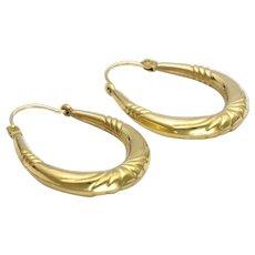 9k Gold Hoop Earrings - Pierced Ears