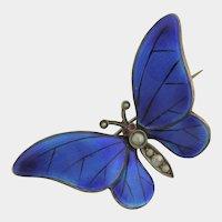 Art Nouveau German Silver Enamel Butterfly Brooch