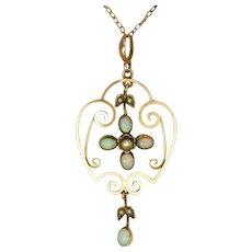 English Art Nouveau 9K Gold and Opal Necklace