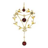 English Art Nouveau 9K Gold and Garnet Pendant