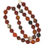 Carnelian Agate Reconstituted Necklace - Some Victorian Beads