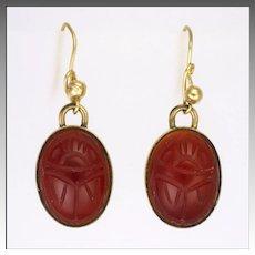 Egyptian Revival Carnelian Agate Scarab Earrings on Gold Plated Metal