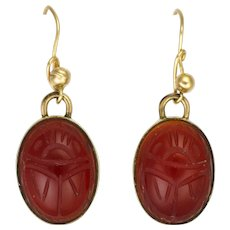 Egyptian Revival Carnelian Agate Scarab Earrings on Gold Plated Metal