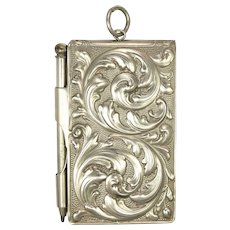Edwardian Repoussé Silver Plated Aide Mémoire or Note Book with Pencil
