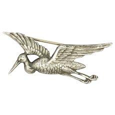French Circa 1910 Silver Stork in Flight Pin