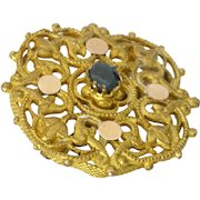 French Victorian Gold Plated Sapphire Pin