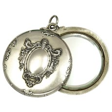 French Antique Double Sided Silver Decorative Mirror Slide Pendant