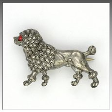 French Antique Silver Poodle Dog Pin