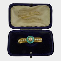 Victorian 18K Gold Turquoise and Pearl PIn - Original Box