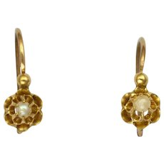 French Antique Gold Filled and Seed Pearl Earrings for Young Girl