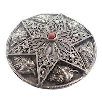 French Large Antique Silver Star Pendant / Pin