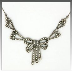 Art Deco 1930's Sterling Silver Marcasite Bow Necklace