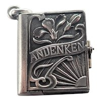 Art Nouveau  German Silver Keepsake Box Pendant or Charm