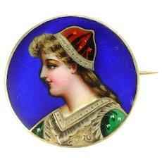 French Antique 800 Silver Enamel Lady Pin