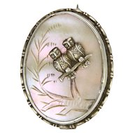 Antique Sterling Silver and Mother of Pearl Owls Pin