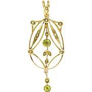 English Edwardian 9K Gold Peridot and Seed Pearl Pendant