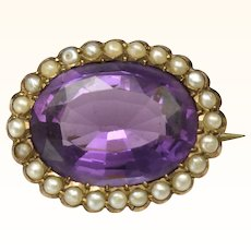 Victorian 9K Gold amethyst and Seed Pearls Lace Pin