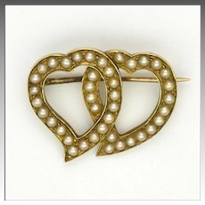 Victorian 15K Gold and Pearls Double Hearts Pin -1887
