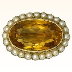 Victorian 9K Gold Citrine and Seed Pearl Pin