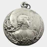 French Antique Silver Plated Joan of Arc Pendant Locket