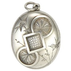 Victorian Sterling Silver Engraved Aesthetic Period Locket