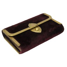 Victorian 1887 Maroon Velvet Bound Diary and Pencil