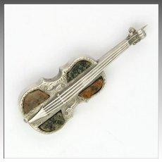 Victorian Scottish Granite on Sterling Silver Violin Pin