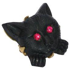 Victorian Jet Black Cat Lace Pin