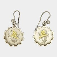 Victorian Engraved Gilded Butterfly Silver Earrings
