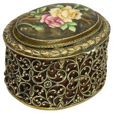 European 19th Century Enamel Rose Gilded Brass Trinket Box