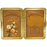 Victorian Leather Card Case with Embroidered Flowers
