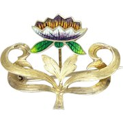 Art Nouveau Gold Washed Sterling Silver and Enamel Flower Pin