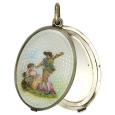 Austrian 935 Silver and Enamel Courting  Couple Mirror Slide Pendant
