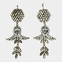 Victorian Cut Steel Drop Earrings with 9K Gold Wires