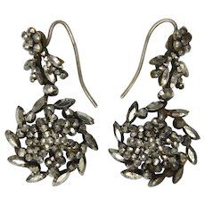 Victorian Cut Steel Flower Drop Earrings - Original Hooks